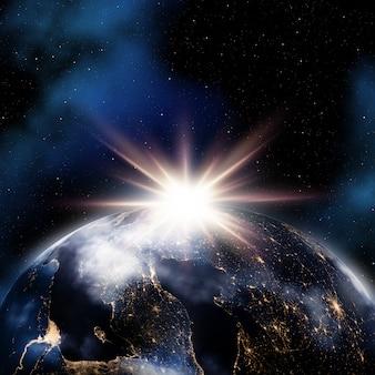 Abstracte ruimteachtergrond met nachtlichten op aarde