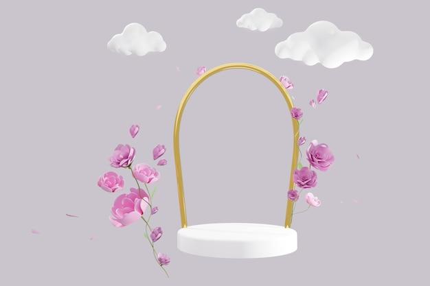 Abstracte scène met geometrisch levitatiepodium en roze rozenbloemen, beeldverhaalwolken over grijze achtergrond. 3d render, kopie ruimte