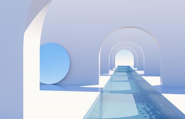 Abstracte scène met geometrische vormen, boog met zwembad in natuurlijk daglicht. minimale 3d landschapsachtergrond.