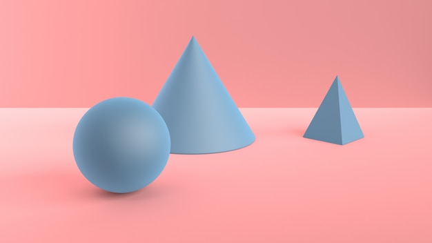 Abstracte scène van geometrische vormen. bal, kegel en piramide blauw. zacht omgevingslicht in 3d-scène met zacht roze oppervlak