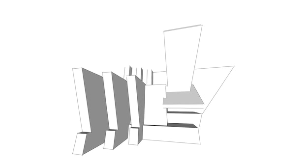 Abstracte schets, architectonisch, constructie, draadframe