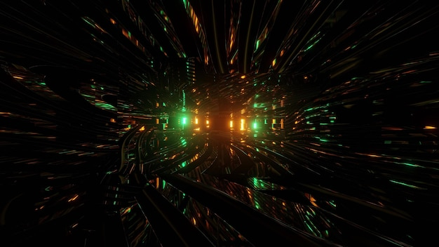 Abstracte sci fi achtergrond met glanzende lichten 3d illustratie