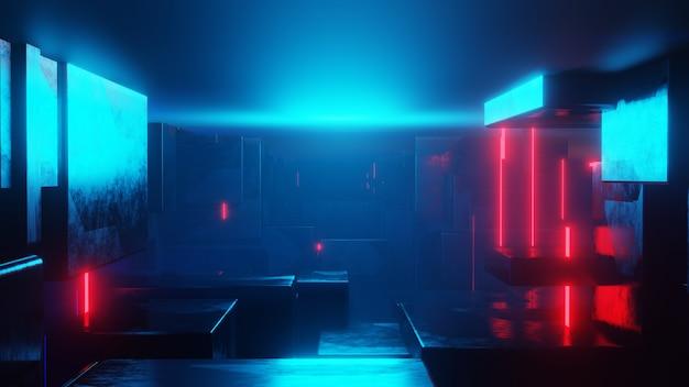 Abstracte sci-fi-tunnel. edm clubconcert, high-tech achtergrond. time warp portal, lightspeed hyperspace concept. 3d render.
