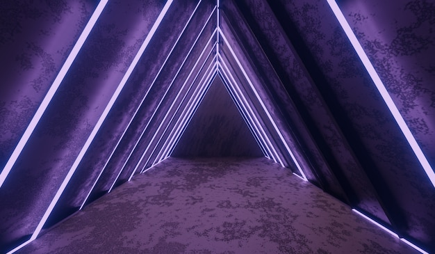 Abstracte sci-fi tunnel met paars licht.