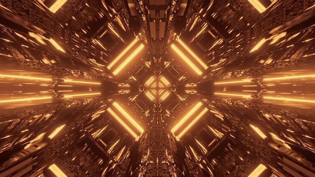 Abstracte science fiction futuristische achtergrond met gouden neonlichten