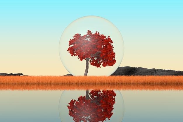Abstracte singl herfstboom binnen glazen bal staande in lang gras op een rivieroever extreme close-up. 3d-rendering