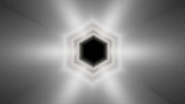 Abstracte snelheidstunnel, ruimtevervorming, wormgat of zeshoekig zwart gat, 3d-rendering