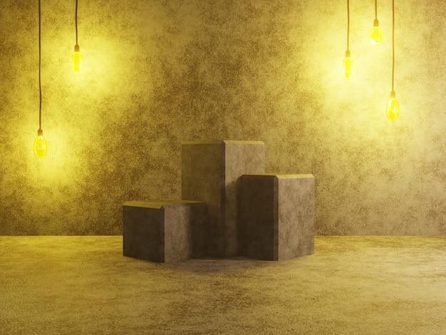 Abstracte sokkel podium of platform - betonnen kubussen met vintage lampen. 3d-weergave.