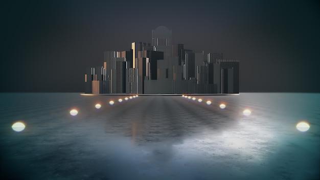 Abstracte stad. donkere stad met licht, nachtstad. 3d-weergave