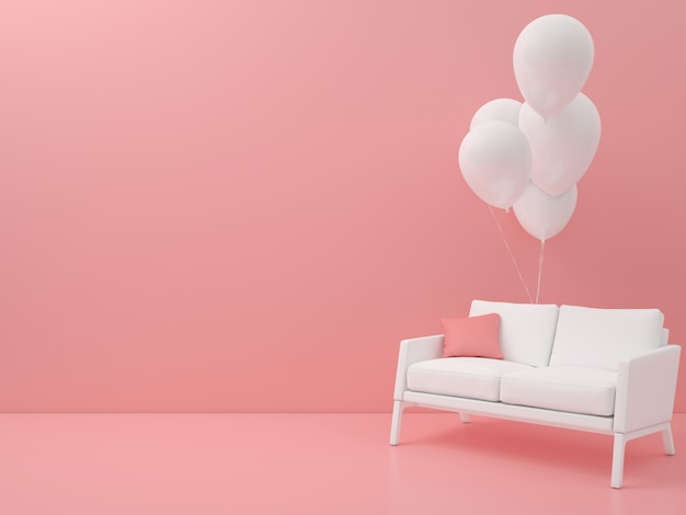 Abstracte stoel met ballon geometrische vorm pastel kleur minimale moderne stijl