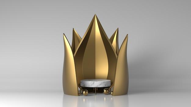 Abstracte stroom luxe gouden en witte marmeren showcase voor productplaatsing