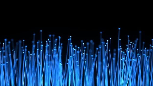 Abstracte technische achtergrond. verdeling van optische vezels van het lichtsignaal van een diode naar een bos. gebruikt voor een snelle internetverbinding. 3d-afbeelding