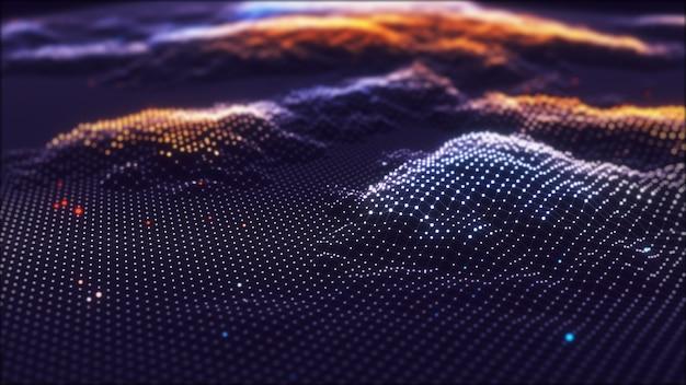 Abstracte technologie big data achtergrond concept. kunstmatige intelligentie technologie. big data en cyberbeveiliging. overdracht en opslag van datasets, blockchain, server. kleurrijke achtergrond.