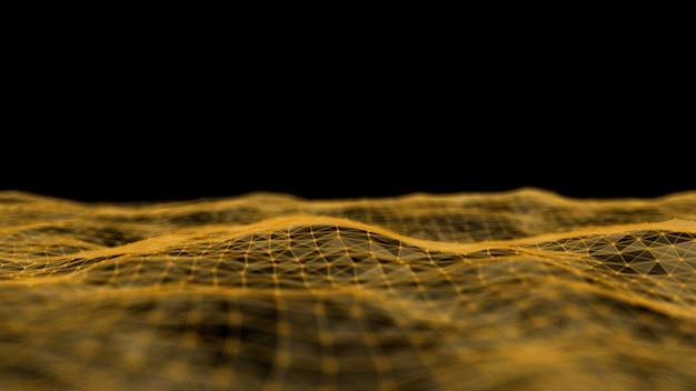 Abstracte technologie plexus golf deeltjes op donkere achtergrond