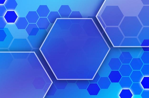 Abstracte technologische achtergrond bestaande uit een reeks zeshoeken en andere geometrische vormen in blauwe en violette kleuren