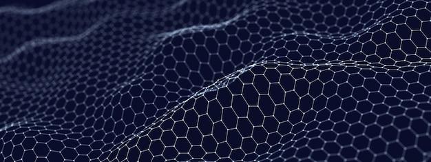 Abstracte technologische golvende achtergrond bestaande uit zeshoeken, 3d illustratie
