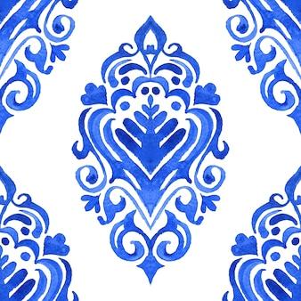 Abstracte tegel arabesque damast aquarel hand getekend naadloze patroon voor stof en keramiek ontwerp.