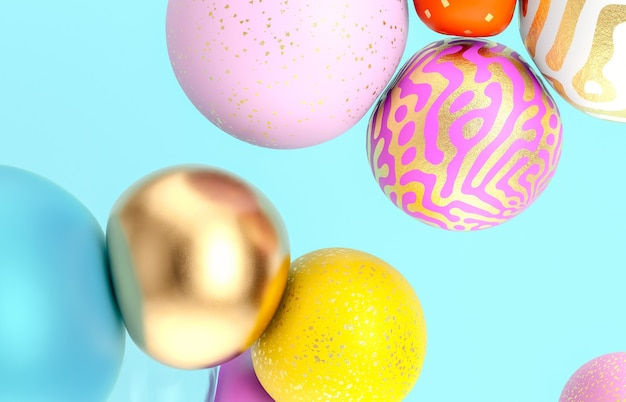 Abstracte vakantie achtergrond met mooie geometrische ballonnen. 3d render.