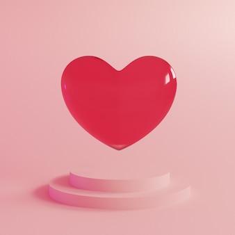 Abstracte valentijnsdag achtergrond met vliegende realistische glazen hart en gelukkige valentijnsdag tekst.