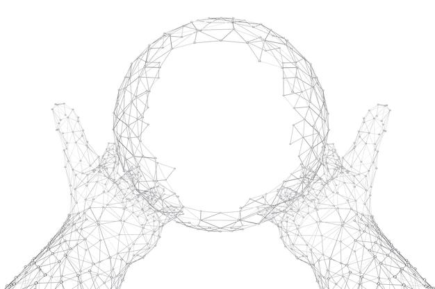Abstracte veelhoekige bol atoom, dna, neuronen, globe, molecuul met handen in draad frame stijl op een witte achtergrond. 3d-rendering
