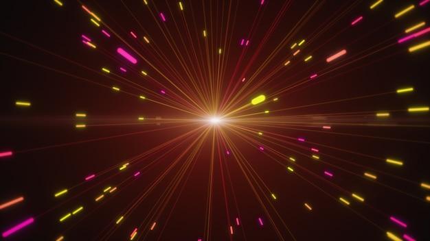 Abstracte veelkleurige ontploffingen van digitale neon vuurwerk