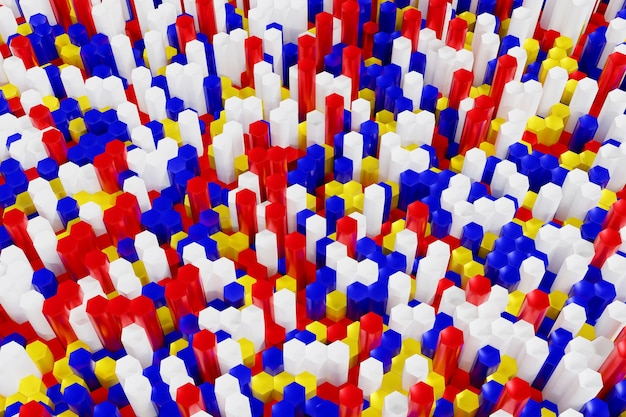 Abstracte veelkleurige rode blauwe gele en witte zeshoek achtergrond