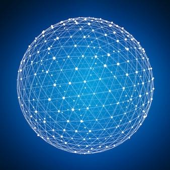 Abstracte verbinding web bol met vlek en lijnen 3d-rendering