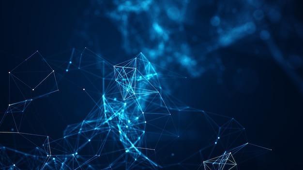 Abstracte verbonden punten en lijnen op blauwe achtergrond. communicatie- en technologienetwerkconcept met bewegende lijnen en punten.