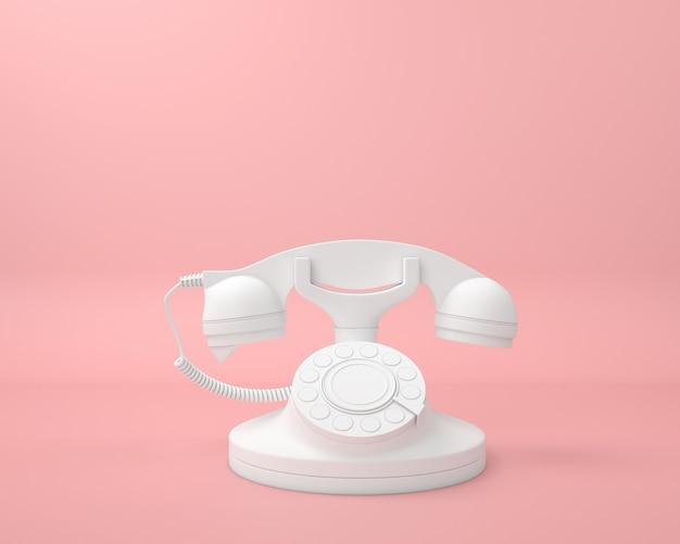 Abstracte vintage witte telefoon pastel kleur minimale moderne stijl