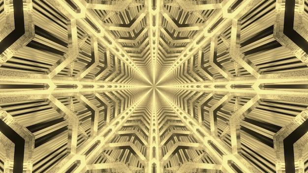 Abstracte visuele achtergrond van eindeloze futuristische tunnel met symmetrische geometrische ster gevormd in gouden neonkleuren