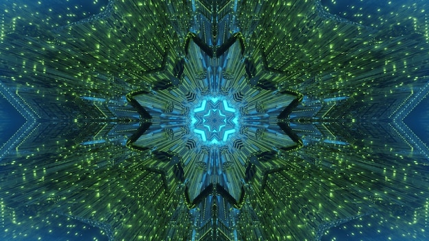 Abstracte visuele geometrische surrealistische tunnel als achtergrond met groene en blauwe neonverlichting en ongebruikelijke vorm