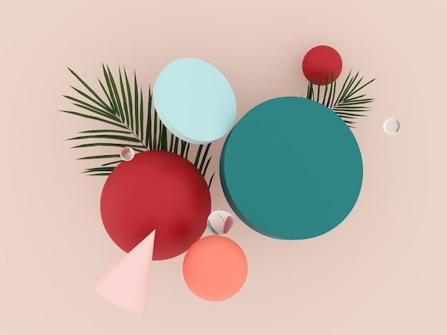 Abstracte, vliegende geometrische objecten en tropische palmbladeren - 3d render.
