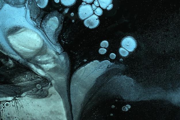 Abstracte vloeibare kunst zwarte en blauwe kleuren als achtergrond