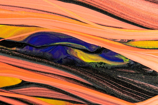 Abstracte vloeibare marmeren oranje achtergrond diy experimentele kunst