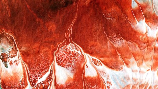 Abstracte vloeibare rode witte kleuren verf achtergrond. vloeiende kunst, weelderige lava bloedige zeegolf