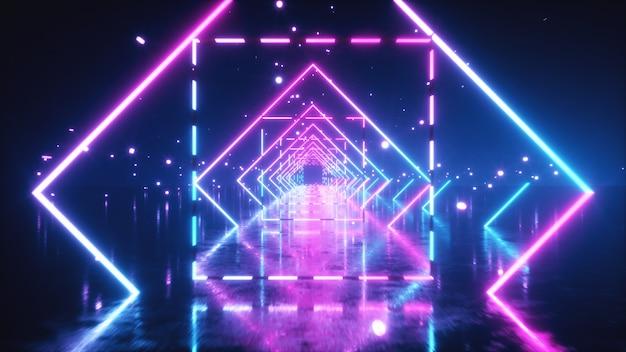 Abstracte vlucht in de ruimte door gloeiende neon pleinen