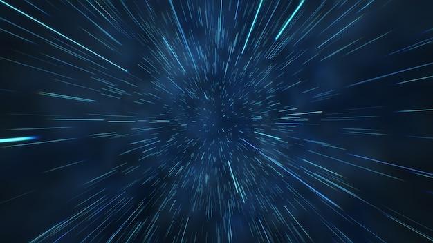 Abstracte vlucht in ruimte hyper jump 3d illustratie