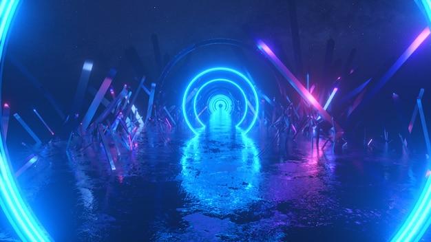 Abstracte vlucht, neonlichtringvorm, mysterieus ruimtelandschap, voorwaartse vlucht door de gang van kristallen