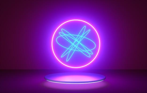 Abstracte vlucht, neonlichtringvorm op podium. 3d render