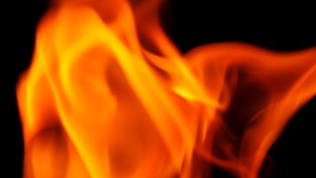 Abstracte vorm van vuurclose-up dat met heet en gevaar op zwarte achtergrond brandt.