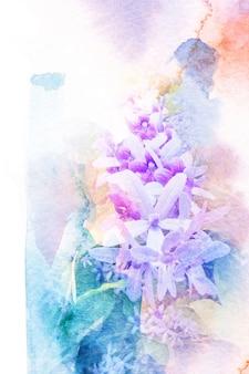 Abstracte waterverfillustratie van bloesem purpere kroon.