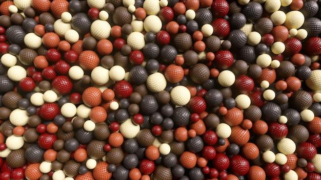 Abstracte willekeurige verschijning van bollen die met elkaar in wisselwerking staan. beweging concept. 3d-afbeelding