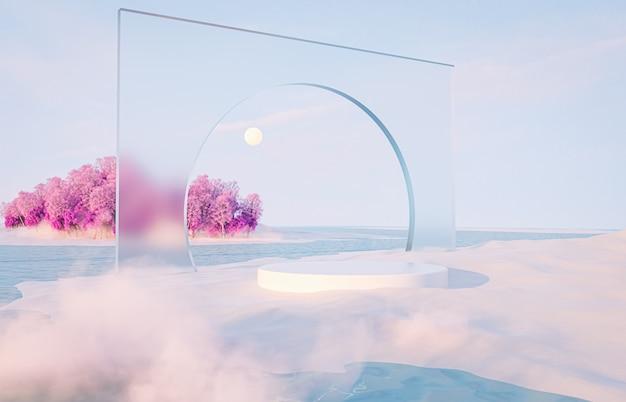 Abstracte winter kerst landschap scène achtergrond met product stand