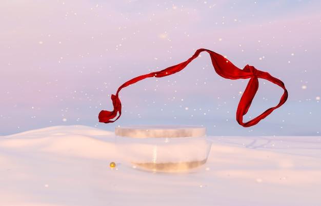 Abstracte winterkerstscène met ijsproductstandaard en rood lint