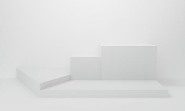 Abstracte witte achtergrond in studioruimte. 3d-weergave.