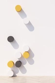 Abstracte witte achtergrond met geometrisch vormpodium voor product met schaduw op muur. minimaal concept geel en grijs. 3d-weergave