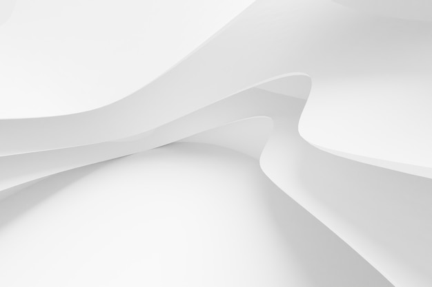 Abstracte witte architectuurachtergrond. 3d render. modern geometrisch behang. futuristisch technologisch ontwerp