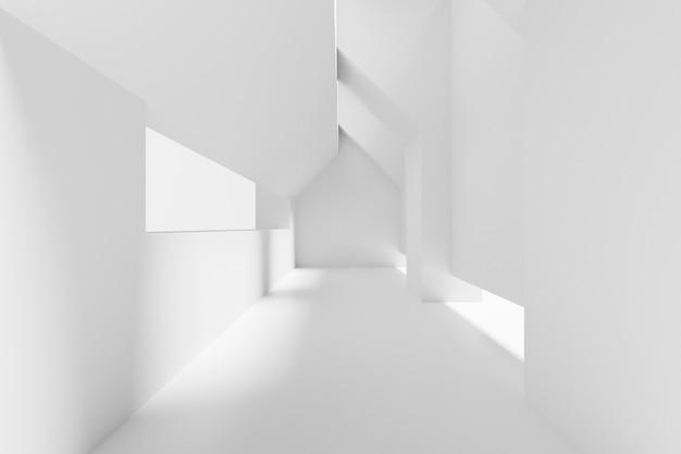 Abstracte witte interieur van de toekomst. 3d-weergave.