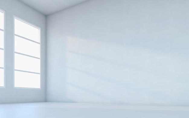 Abstracte witte kamer. lege ruimte met muur. 3d-rendering