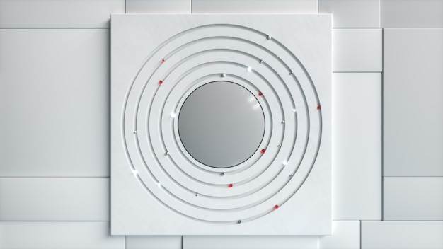 Abstracte zakelijke achtergrond. verschillende bollen bewegen in een cirkel in het midden. technologisch concept. 3d-afbeelding